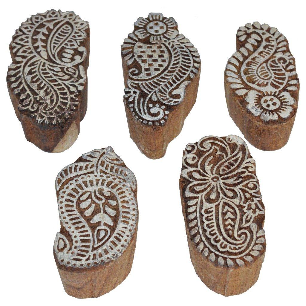 Saaree Border Designs Printing Blocks 5 piece Set / Wooden Printing Stamp Block Hand-Carved for Saree Border Making Pottery Crafts Textile Printing