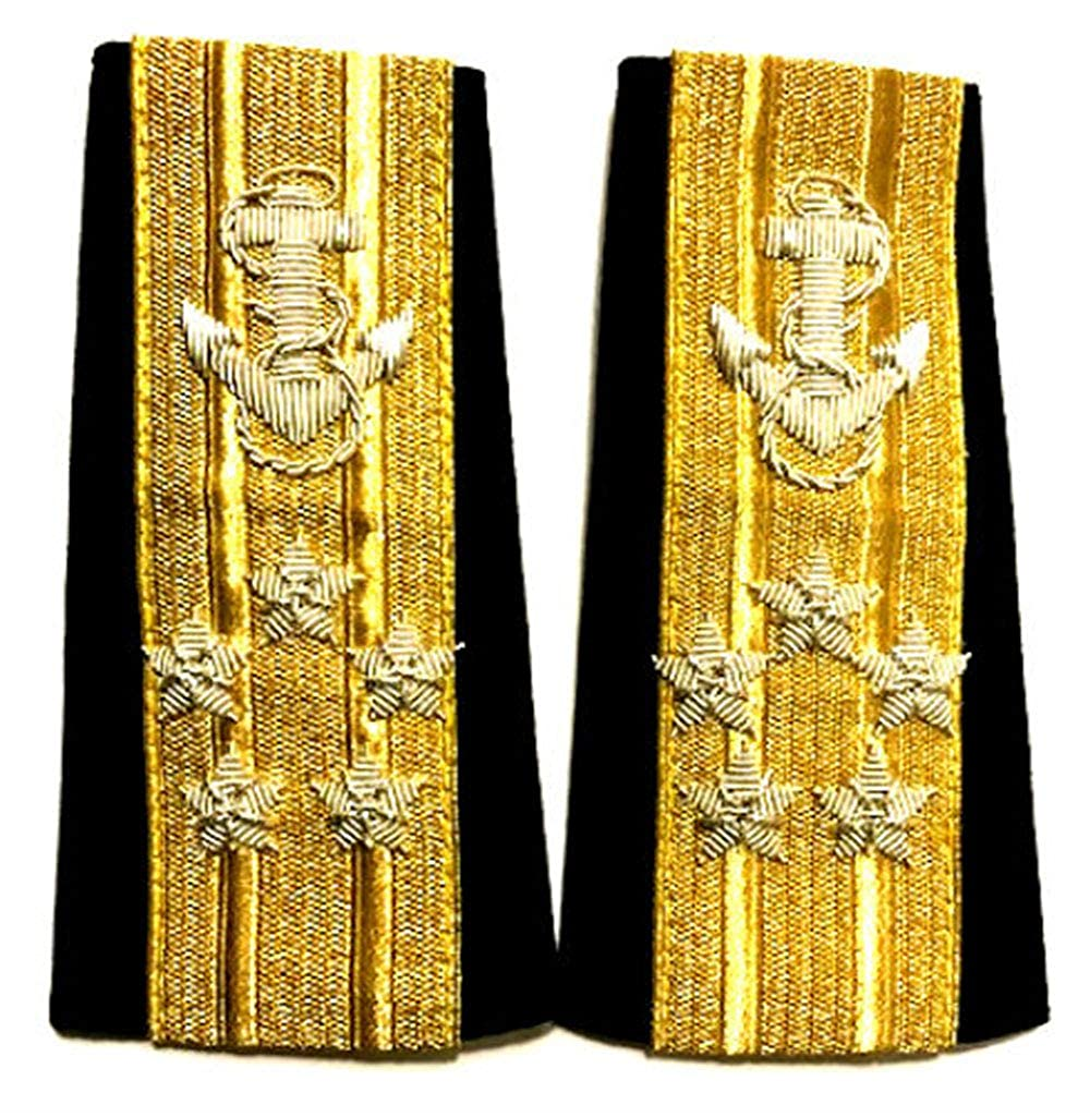 NEW US NAVY SOFT SHOULDER BOARDS 5 STARS MALE LINE OFFICER RANK ADMIRAL - Hi Quality CP MADE PAIR