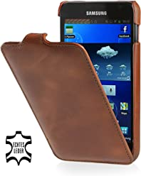 StilGut UltraSlim Case, custodia in pelle per Samsung Galaxy Note 1 N7000, cognac
