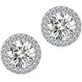 Stud Earrings,Fashion Jewelry Cubic Zirconia Halo Earrings for Women
