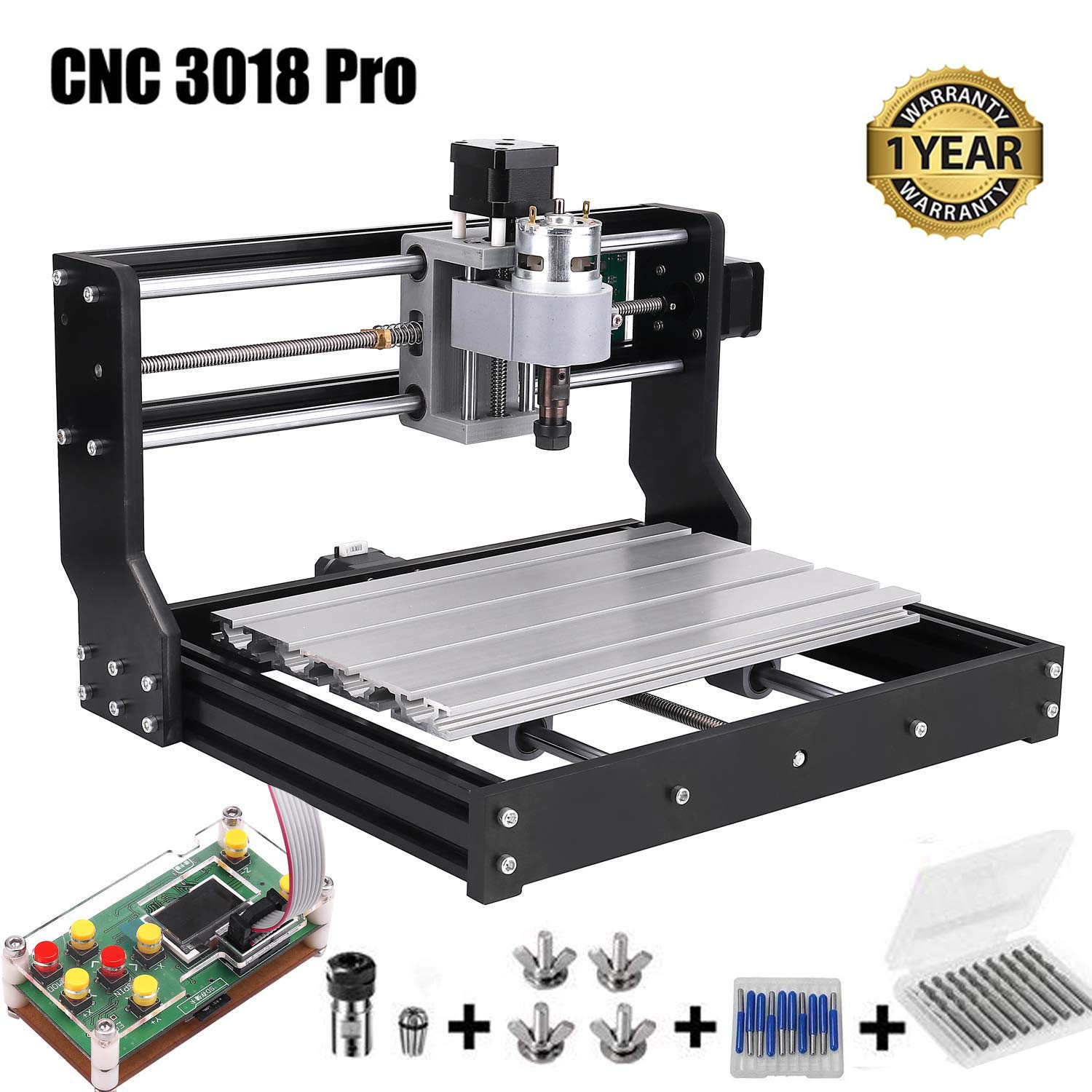 CNC 3018 Pro GRBL Control DIY Mini CNC Machine, 3 Axis PCB Milling Machine, Wood Router Engraver with Offline Controller, with ER11 5mm Extension Rod and 20PCS 3.175MM CNC Router Bits