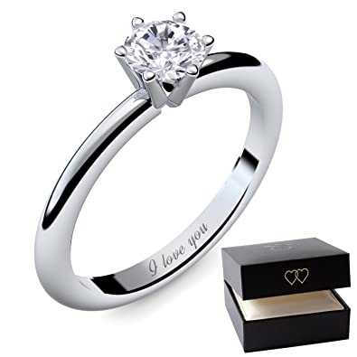 Engagement Rings for Women by AMOONIC made with SWAROVSKI Zirconia