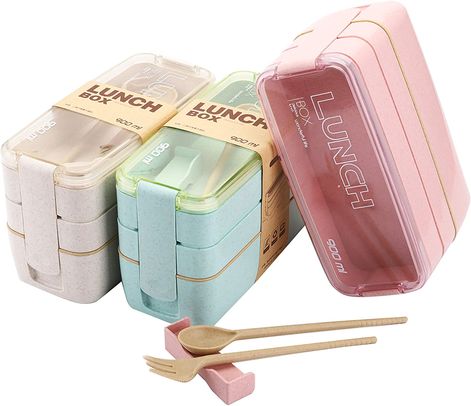 Yesland 3 Pack Bento Box, Wheat Straw 3-In-1 Compartment Japanese Lunch Box with Divider, All-in-One Stackable Lunch Containers for Kids and Adults (Beige, Pink & Green)