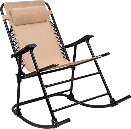 Furniwell Patio Rocking Zero Gravity Chair Outdoor Wide Recliner Portable Lounge Chair Folding with Headrest for Camping Fishing Beach Poolside Beige