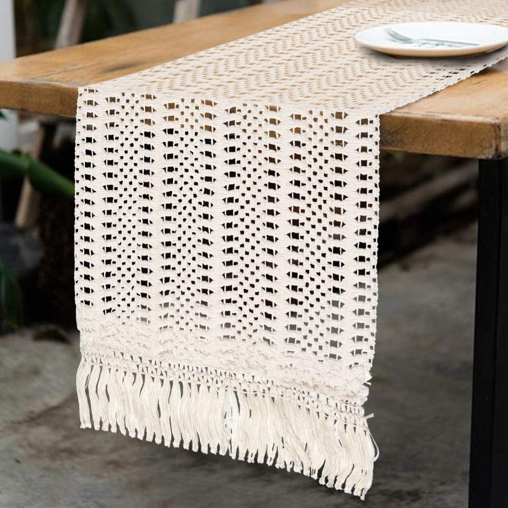 AerWo Macrame Table Runner, Cotton Boho Wedding Table Runner with Tassels for Bohemian Rustic Wedding Table Decorations Bridal Shower Dinner Tabletop Decor, 12x108 inches by AerWo