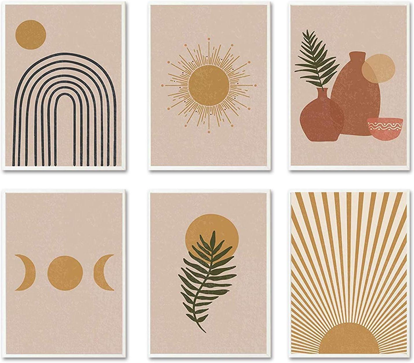 """iMagitek Set of 6 Unframed Neutral Boho Art Prints, Mid Century Art Prints Set, Gallery Wall Art, Earth Tones Wall Art Prints, Earthy Wall Art Prints (8"""" x 10"""")"""