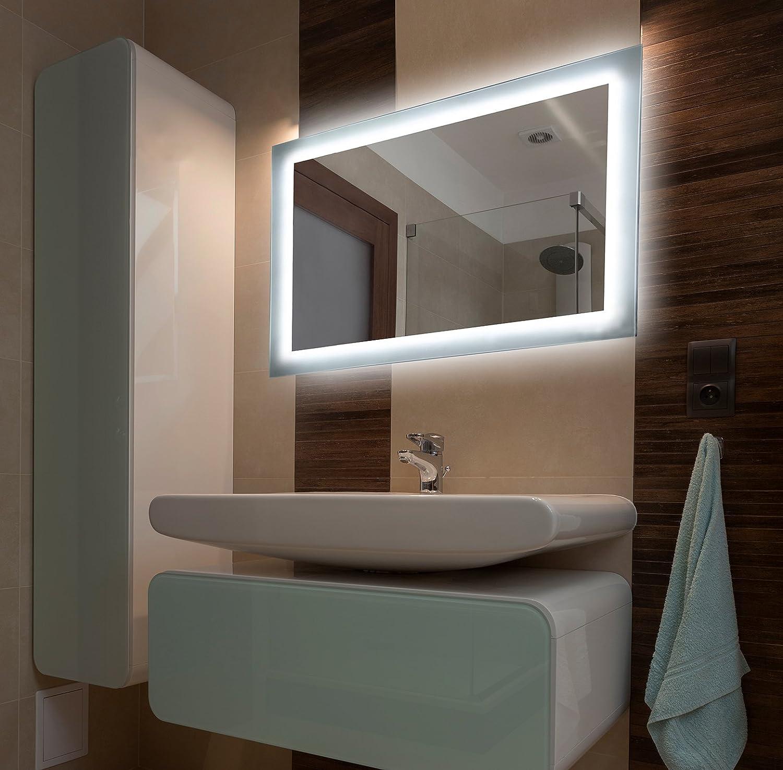 Bilderdepot24 Beleuchteter LED Spiegel Badspiegel Wandspiegel mit ...