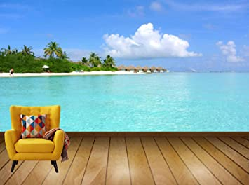Buy Avikalp Exclusive Awi7612 Maldives Coconut Tree Sea Resort Summer Holiday Hd Wallpaper 91cm X 60cm Online At Low Prices In India Amazon In