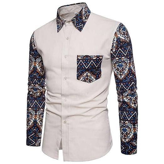 ed31b583e40c23 Litetao Men Business Dress Shirt Casual Long Sleeve Slim Fit Shirt Button  Cowboy Top (Khaki