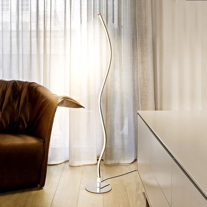 Albrillo Design LED Stehlampe - Moderne Stehleuchte aus Metall, 10W Wellenförmige Standlampe mit Fußschalter und 2m Kabel, Warmweiß 3000K, Perfekt für Schlafzimmer, Wohnzimmer, Esszimmer