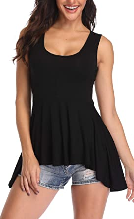 MISS MOLY Camisetas Mujer in Mangas Blusa Cami Camisas Camiseta Tops Peplum Dobladillo Irregular