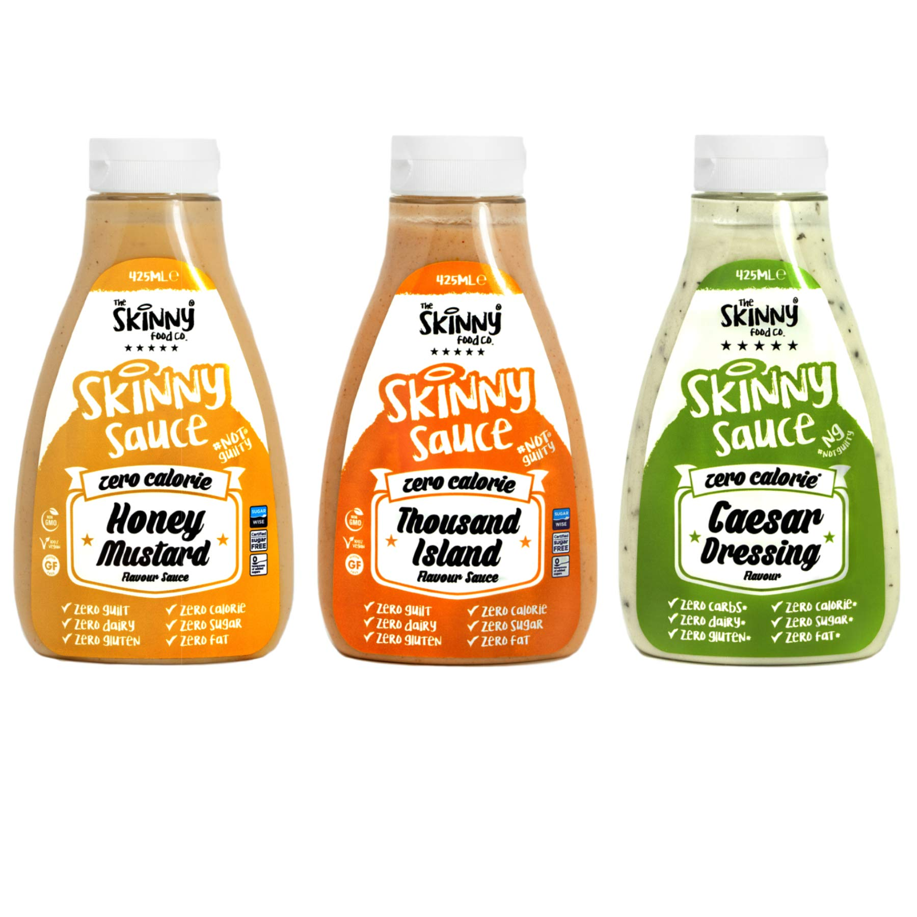 Skinny Foods Honey Mustard, Thousand Island & Caesar Salad Dressings Set of 3 Condiment Sauces Sugar Free Zero Calories by The Skinny Food Co
