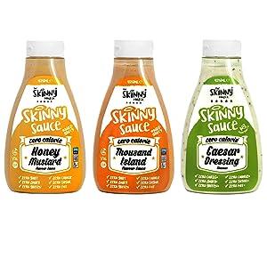 Skinny Foods Honey Mustard, Thousand Island & Caesar Salad Dressings Set of 3 Condiment Sauces Sugar Free Zero Calories