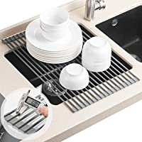 BRIAN & DANY Over Sink Roll Up Dish Drying Rack Kitchen 52 x 34cm w/Anti Slip Silicone Cover, Cooling Rack, Solid Steel,Large, Warm Gray Dish Drainer Rack