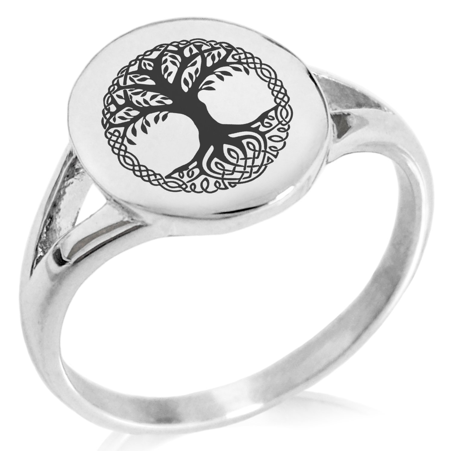 Tioneer Stainless Steel Yggdrasil Great Tree of Life Viking Norse Symbol Minimalist Oval Top Polished Statement Ring, Size 7