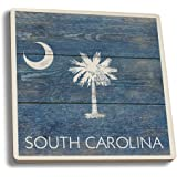 South Carolina State Flag - Barnwood Painting (Set of 4 Ceramic Coasters - Cork-backed, Absorbent)