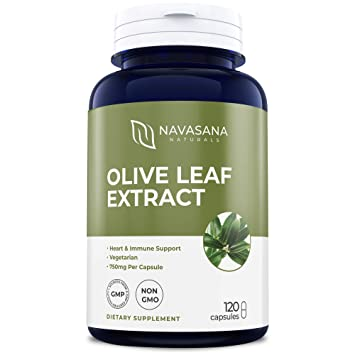 Pure Olive Leaf Extract - (Non-GMO and Vegetarian) with 20% Oleuropein:  750mg Per Serving: