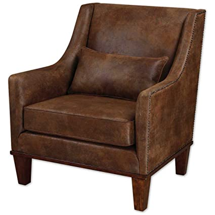 Amazon Com Uttermost 23030 Clay Leather Armchair Antiqued Brass
