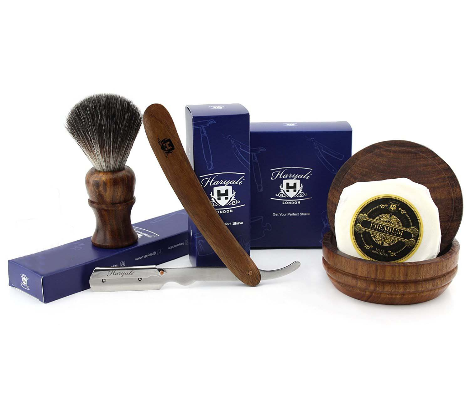 4 PCs Wooden Shaving Set with Straight Cut Throat/Shavete Razor,Black Badger Look Alike Synthetic Hair Brush with Soap & Bowl. Perfect Set in Rose Wood. Haryali London