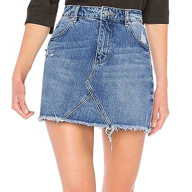 988f898e776 Sunenjoy Jupe Jeans Femme Denim Jupe Filles Slim Dechiré Mini Jupe Taille  Haute Été Jupe Court