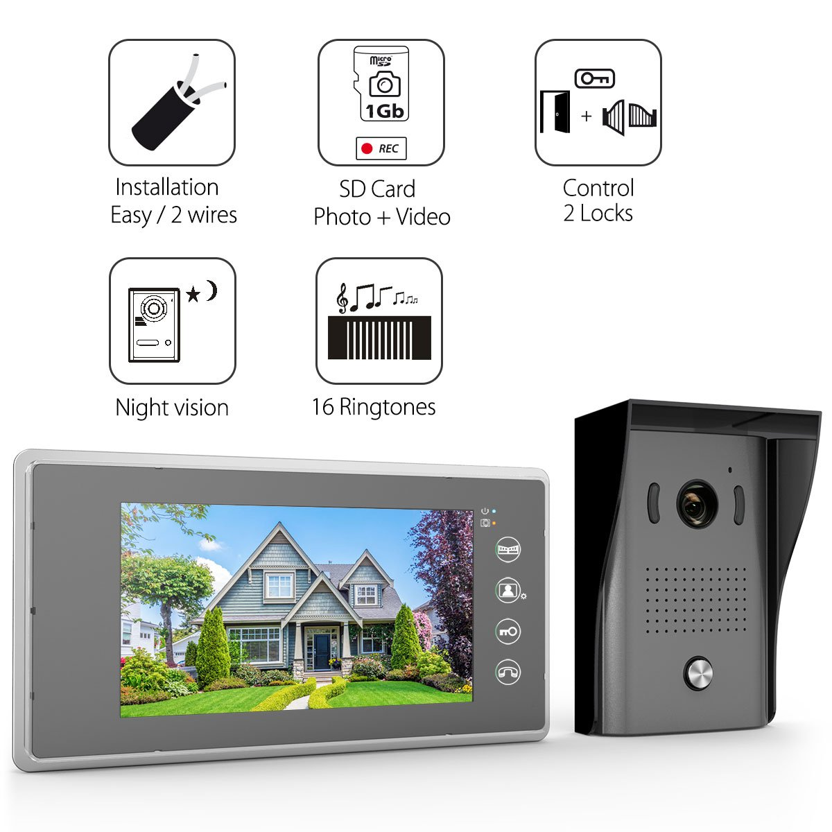 1byone Video Doorphone 2 Wires Intercom System 7 Doorbell Wiring And Installation Inch Color Monitor Hd Camera With 49ft Cable Surface Mounted Outdoor
