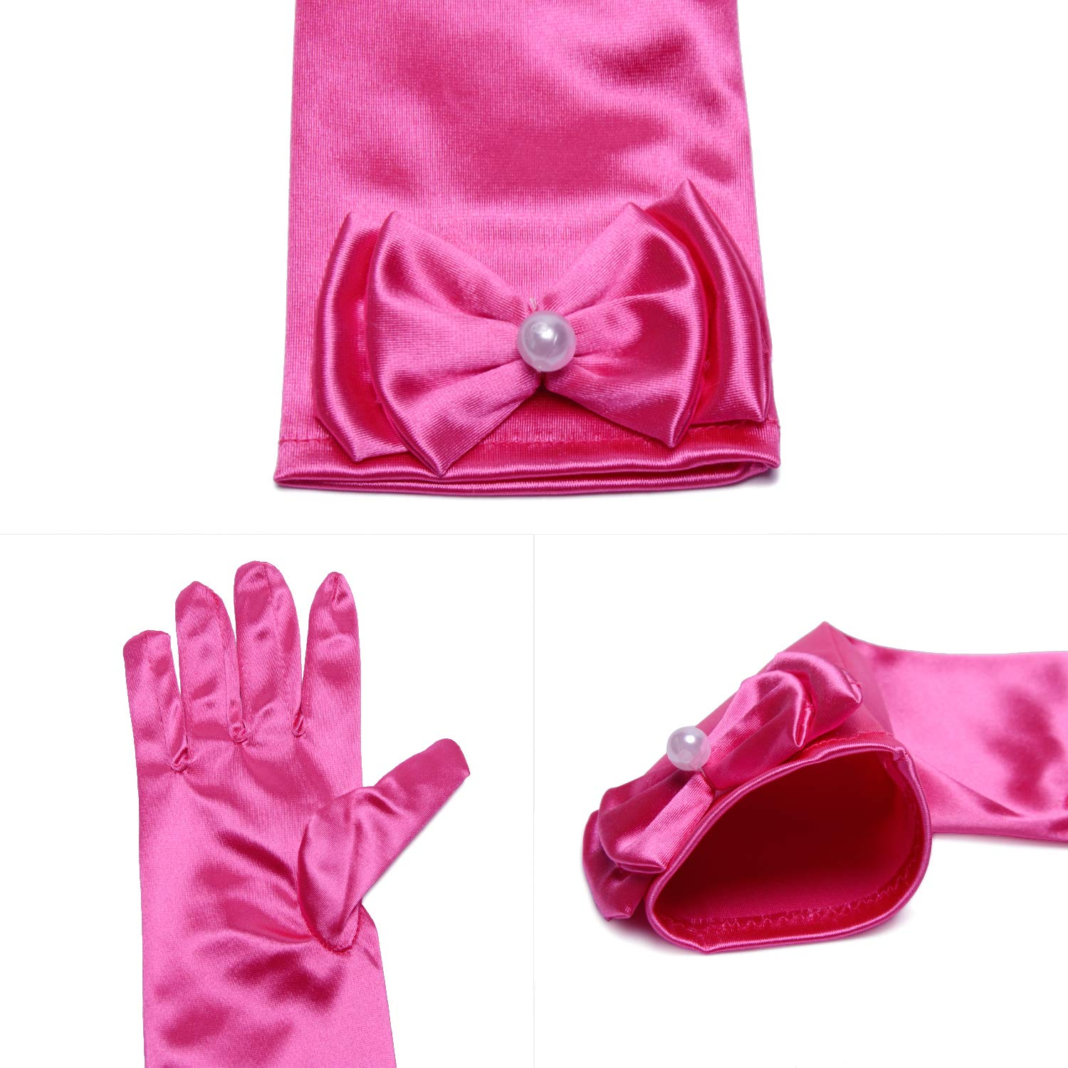 For Birthday,Wedding,Holiday,Costume Party Little Girls Princess Gloves Solid Color Long Elbow Length