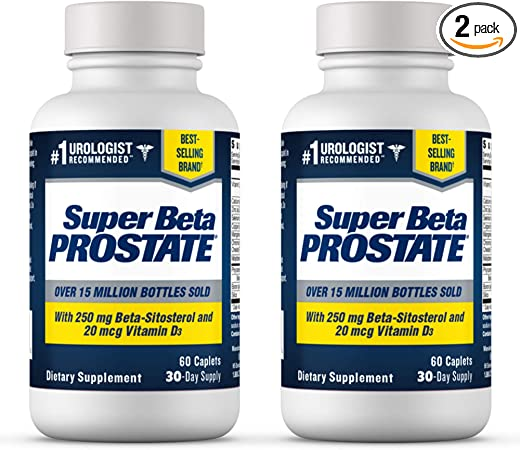 Super Beta Prostate Supplement for Men - Reduce Nightime Bathroom Trips, Promote Sleep, Better Bladder Emptying & Healthy Prostate, Urologist Recommended, with Beta Sitosterol (120ct, 2 Bottle)