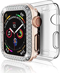 DSYTOM Case Compatible with Apple Watch 44mm, Bling PC Full Cover Bumper & TPU Soft Screen Protector Case for Series 6 Series 5 Series 4 Women Girl,2 Pack(44MM,Clear+ Clear)
