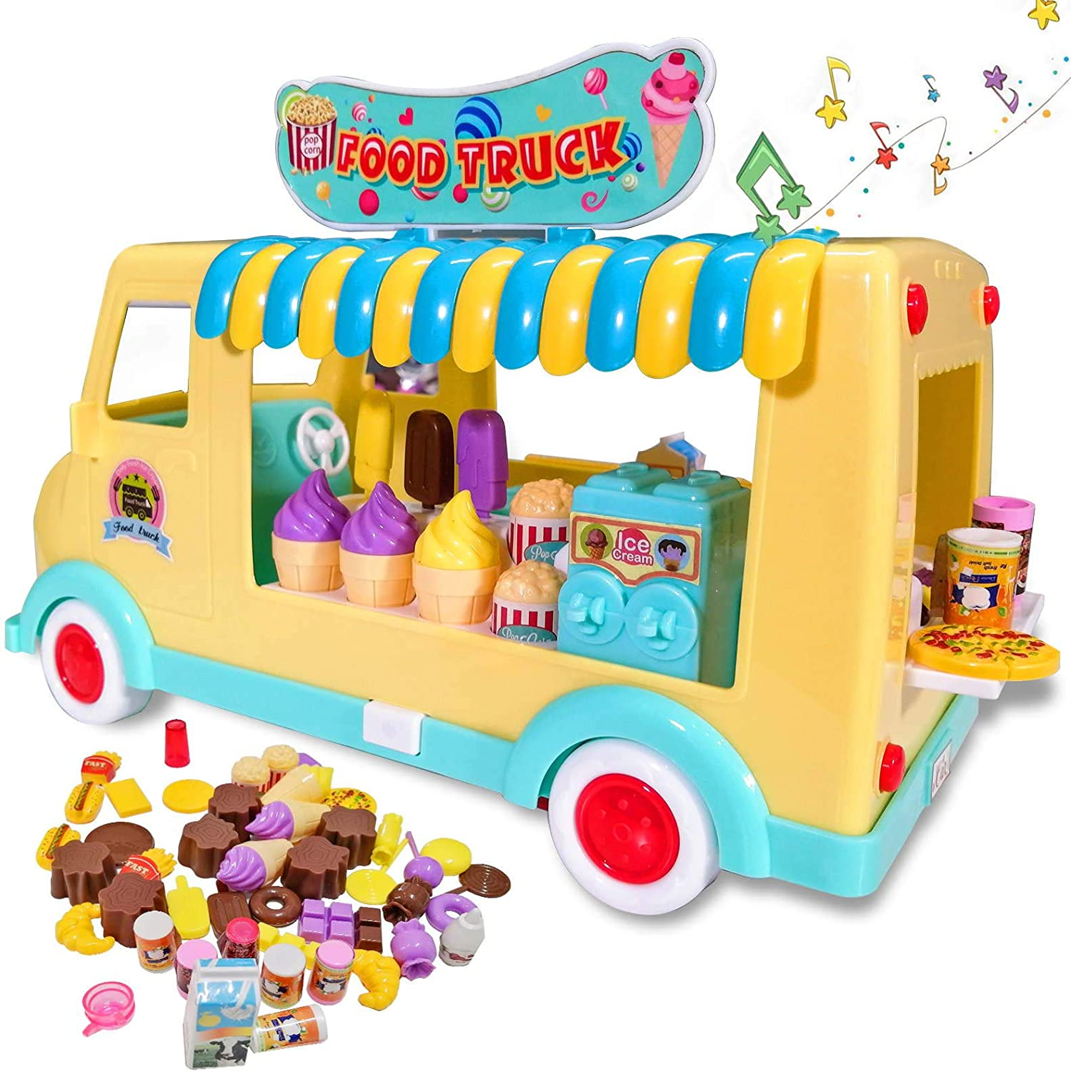 Kimiangel Food Truck for Kids 3 in 1 Fast Food/Ice Cream/Candy Shopping Cart with Music and Light Play Food Toy Car Set Holiday Birthday Gifts for 3 4 5 Year Old Girls & Boys