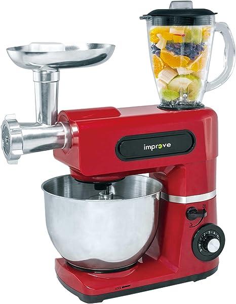 Improve IMPSM0403KT - Robot de cocina 3 en 1 de 1.500 W, cuenco de 6 litros, 6 velocidades, picadora y batidora - Rojo: Amazon.es: Hogar