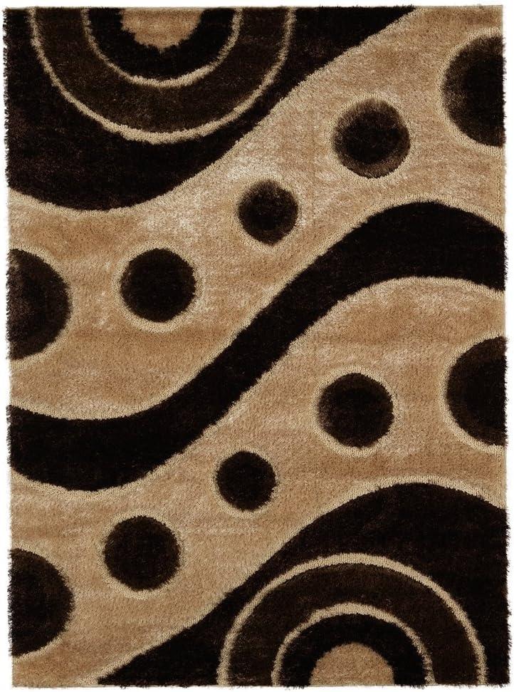 Ottomanson Brown Circles Shag Area Rug, 5 3 x 7 3
