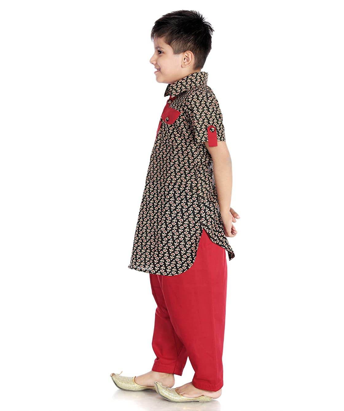 bbcbc1d90 Little Pocket Store Kids Black & Maroon Cotton Printed Pathani Suit For Boys:  Amazon.in: Clothing & Accessories