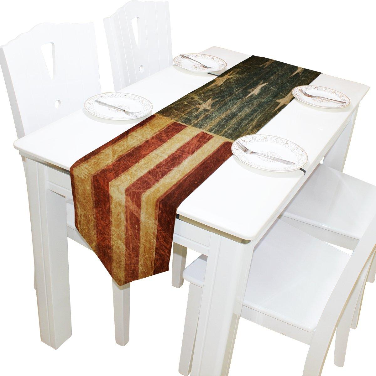 Alazaテーブルランナーホーム装飾、ヴィンテージAmerican Patriotic Starsテーブルクロスランナーコーヒーマットforウェディングパーティー宴会装飾13 x 70インチ 13x70(in) ホワイト 13x70(in)  B07D67ZJT3