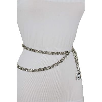 Women Fashion Fancy Dressy Belt Rusty Gold Metal Blue Beads Flower Buckle S M