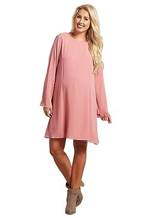627b6013cec38 PinkBlush Maternity Mauve Chiffon Bell Sleeve Maternity Dress, XL at ...