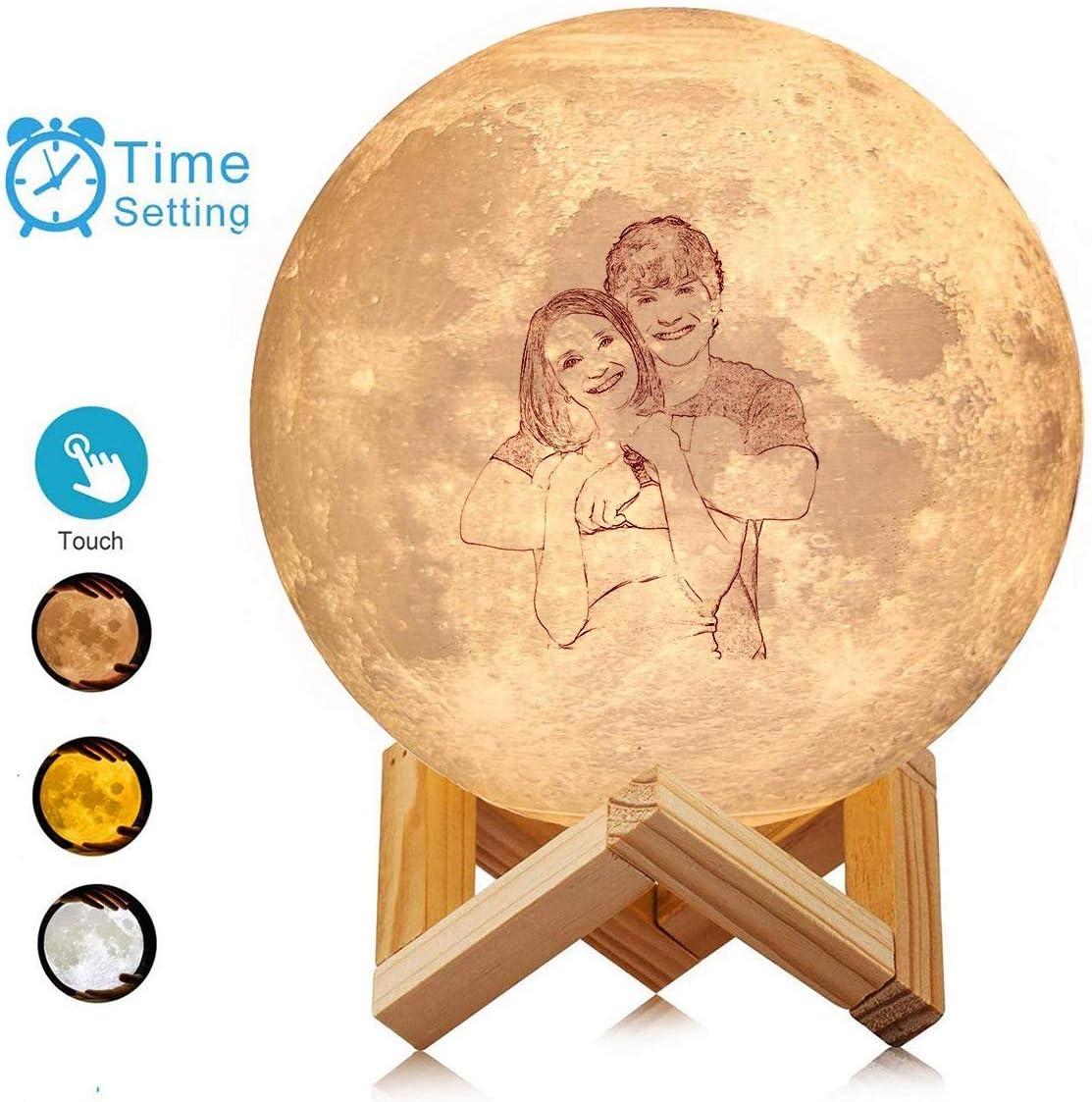 L/ámpara de luna 3D personalizada Foto y nombre personalizados Regalo perfecto Talla familiar Boceto Luz nocturna (16 colores 3 colores)