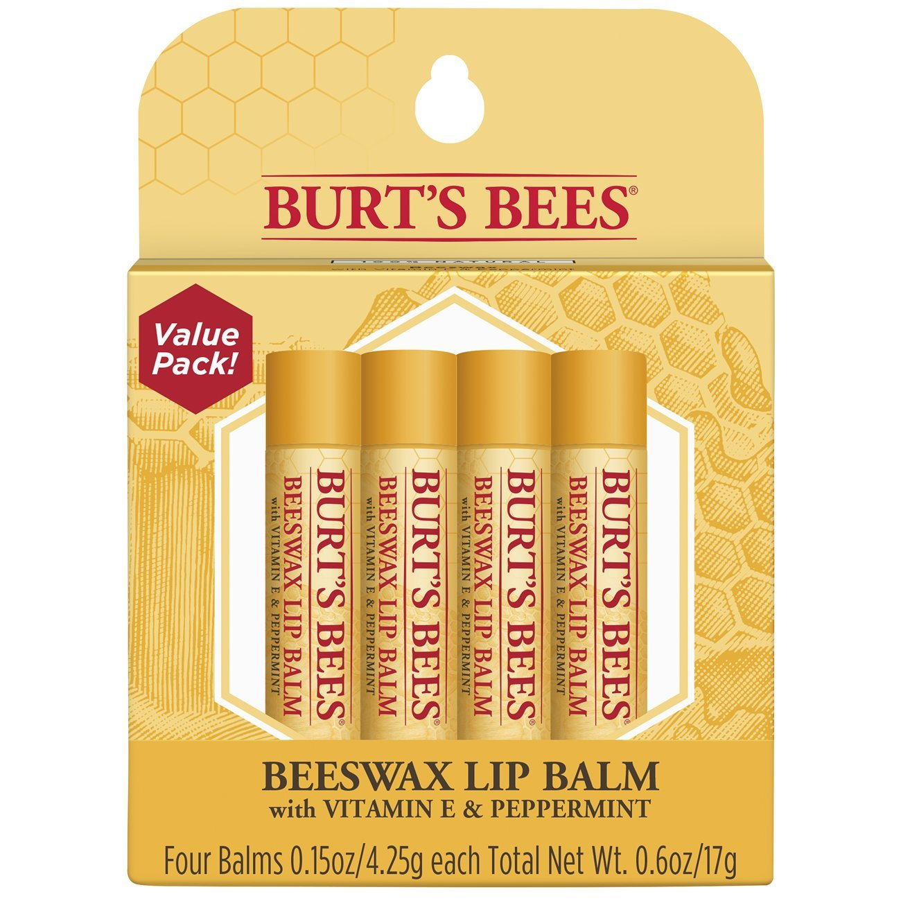 Burt's Bees 100% Natural Moisturizing Lip Balm, Original Beeswax with Vitamin E & Peppermint Oil - 4 Tubes