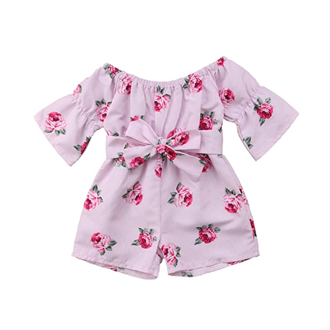 04362d281906 YOUNGER TREE Toddler Baby Girls Summer Outfit Off-Shoulder Rose Floral Print  Overall Romper Jumpsuit