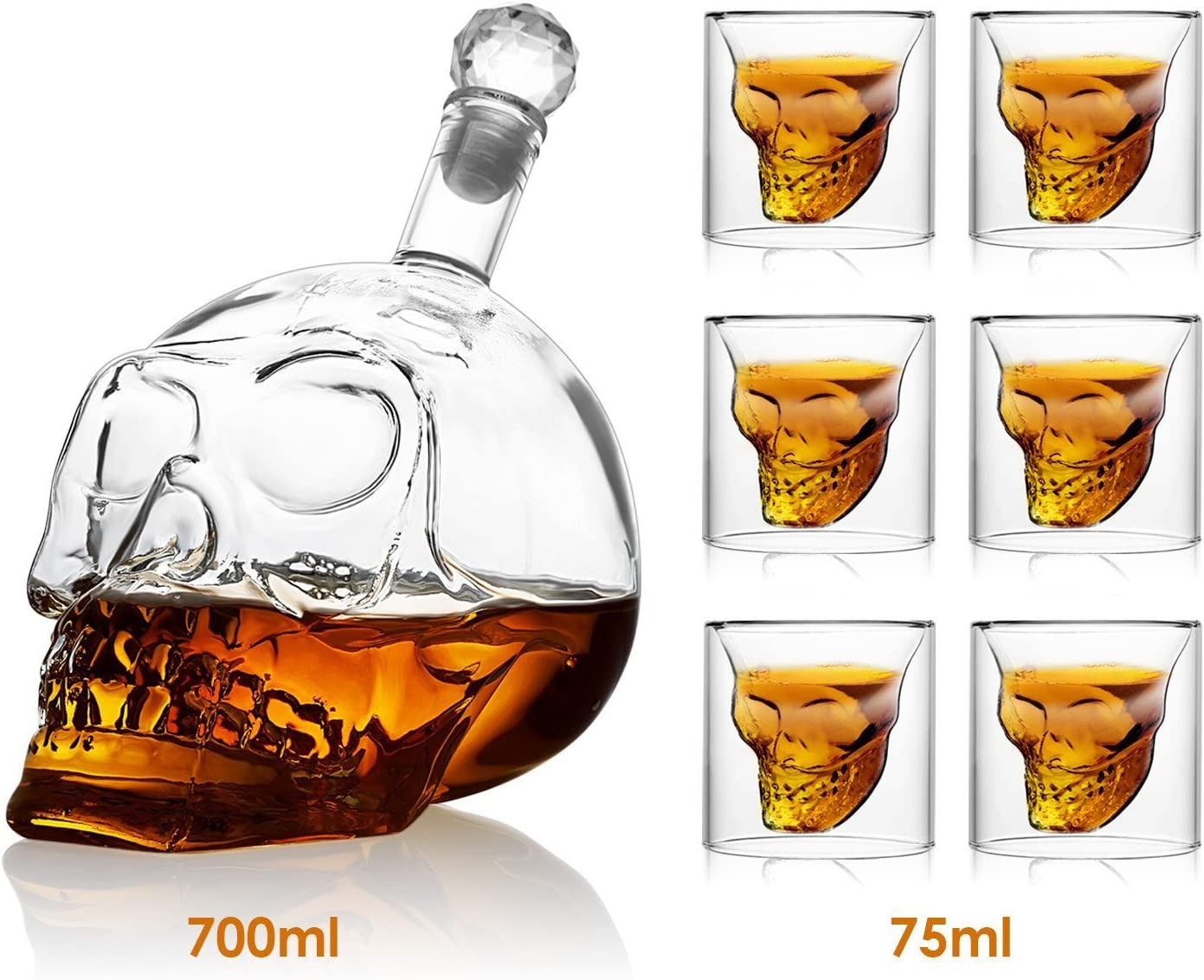 Amzdeal Cráneo de Cristal Calavera Botella - 700ml Botella de Vino y 6x75ml Vaso de Whisky, Transparentey Gran Permeabilidad a la Luz y Capilidad Moderado
