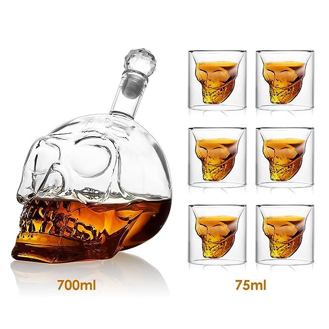 Amzdeal Cráneo de Cristal Calavera Botella - 700ml Botella de Vino y 6x75ml Vaso de Whisky, Transparente y Gran Permeabilidad a la Luz y Capilidad ...