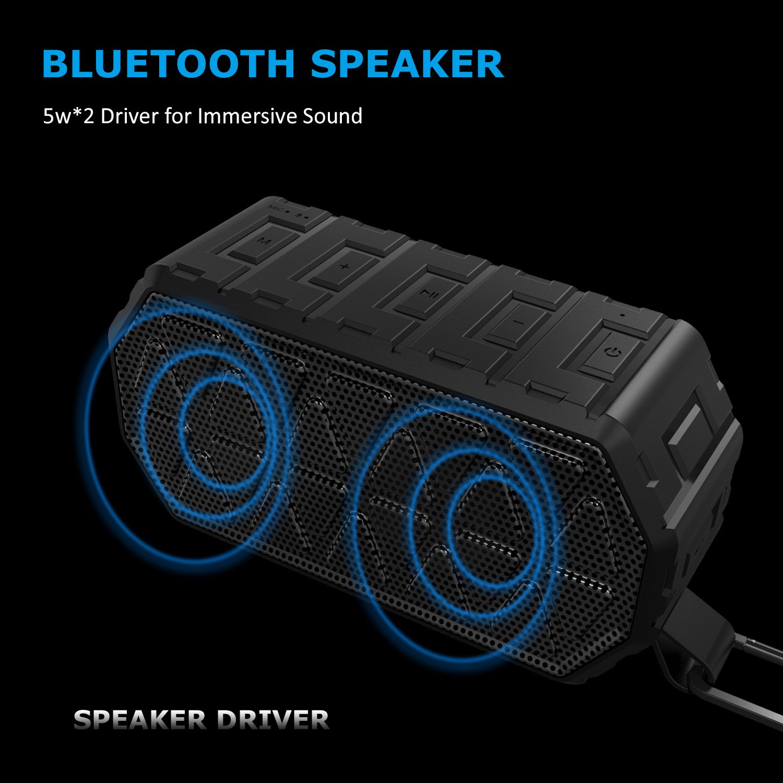 Lobkin Portable Bluetooth Speaker Waterproof Outdoor Home Speaker 10 Hours Playtime for iPhone, Gift, Pool, Beach, Golf Meeting(X8 BLK)