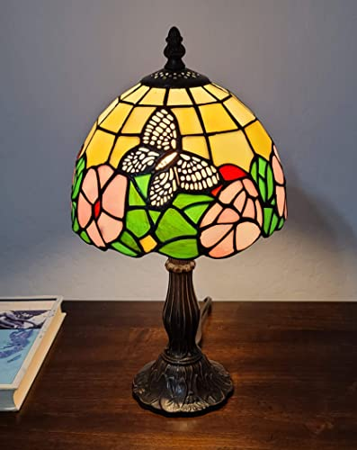 Amora Lighting Tiffany Style Mini Accent Lamp Yellow Green Red Floral Butterfly Flower Antique Vintage Bedside Nightstand 15″ Tall 8″ Wide D cor Handmade Gift AM042TL08B