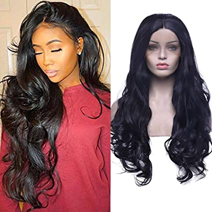 Natural ondulado rizado negro pelo sintético Lace Front Peluca para mujer de aspecto Natural completo pelucas