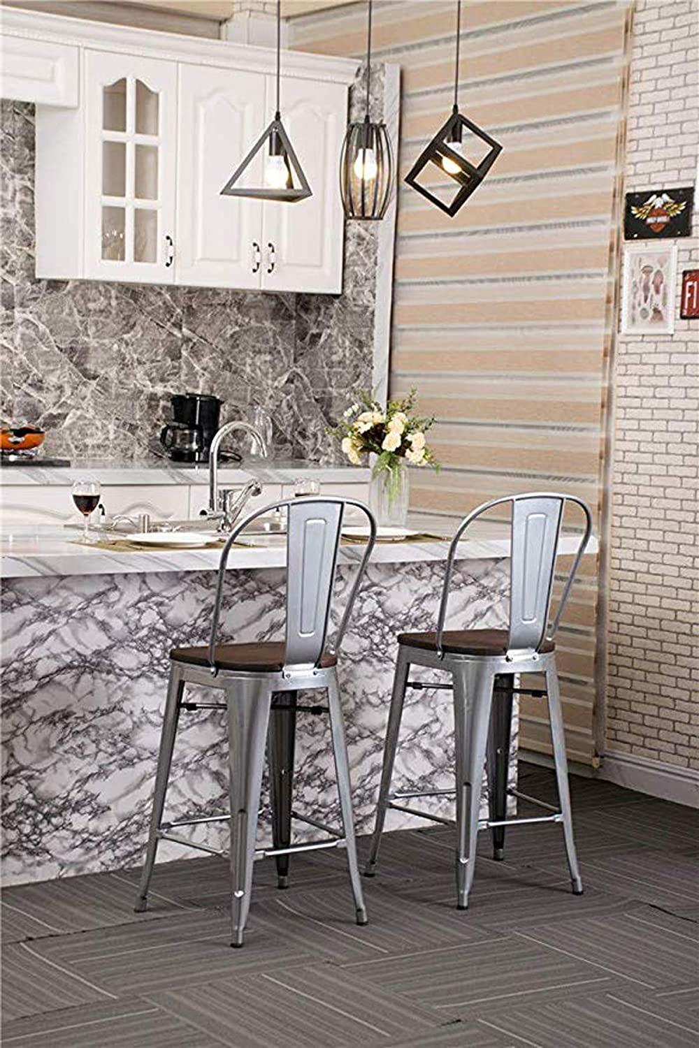 YongQiang Metal Barstools Set of 4 Indoor Outdoor Bar Stools High Back Dining Chair Counter Stool Cafe Side Chairs with Wooden Seat 24 Silver