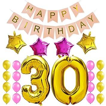 KUNGYO Dulce Fiesta de Cumpleaños Kit Decoraciones Happy Birthday Bandera Rosada; Número 40 Mylar Foil Globo 16 Piezas Rosa Oro Globo de Látex ...