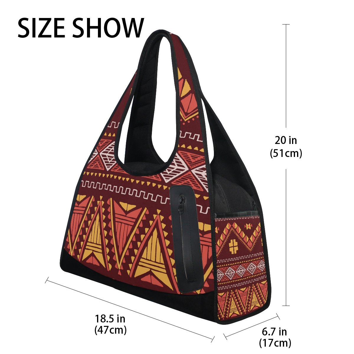 AHOMY Canvas Sports Gym Bag Mexican Pattern Print Vintage Travel Shoulder Bag