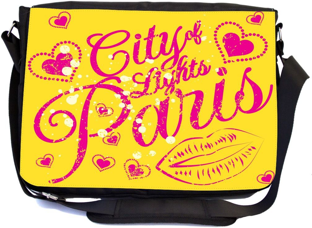 Rikki Knight City of Light Paris Pink Hearts and Lips Design Multifunctional Messenger Bag - School Bag - Laptop Bag - with Padded Insert for School or Work - Includes Matching Compact Mirror
