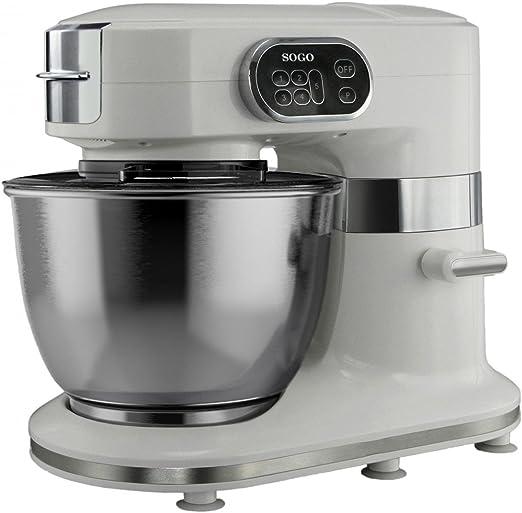 Sogo SS-14500 - Robot de cocina multifunción 3 en 1, amasadora, mezcladora y batidora, color blanco: Amazon.es: Hogar