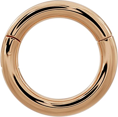 Septum Hinged Ring Clicker Gold Nipple Jewelry 7,8,9,10 and 12mm Earring- 14kt PVD Over Surgical Steel 14g