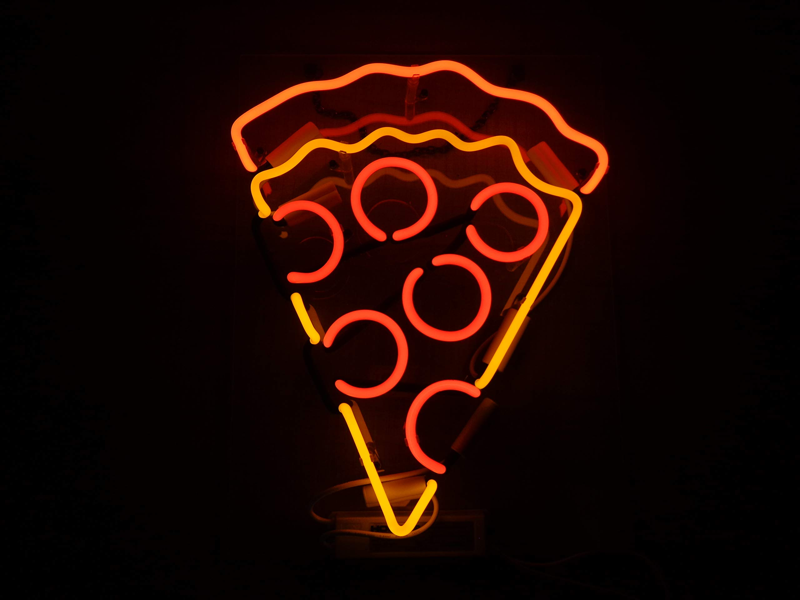 Pizza Acrylic Board Neon Sign 17''X14'' Real Glass Neon Sign Light for Beer Bar Pub Garage Room.
